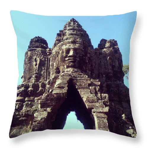 Arch Throw Pillow featuring the photograph The City Gates At Angkor by Lasse Kristensen