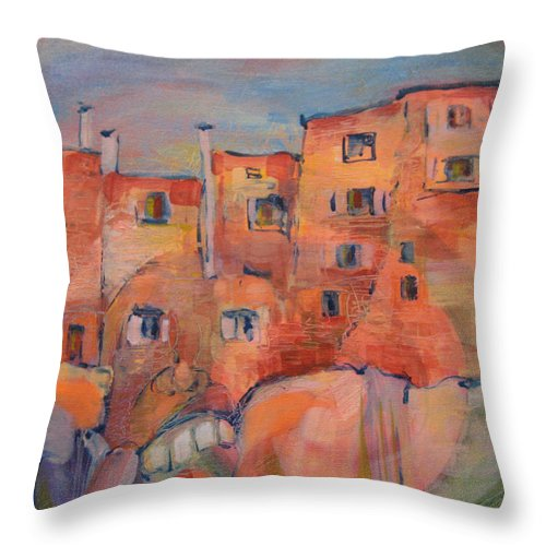 Italy. Italia Throw Pillow featuring the painting The City Walls Watch by Jeff Seaberg