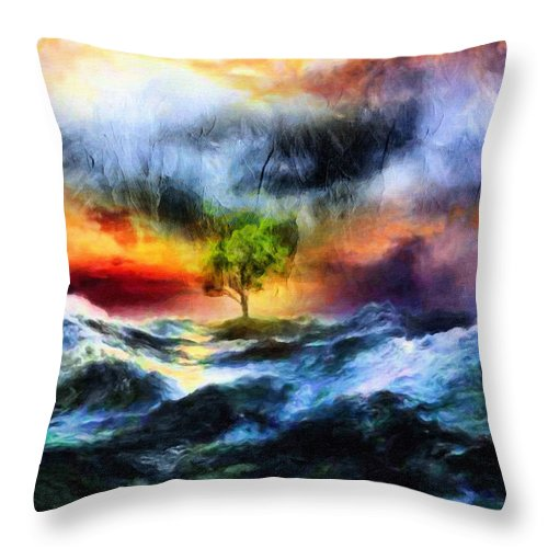 Surrealism Throw Pillow featuring the painting The Clearing Of The Flood by Georgiana Romanovna