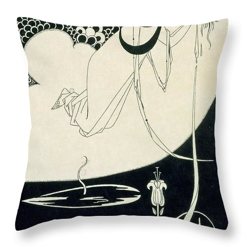 Aubrey Throw Pillow featuring the drawing The Climax by Aubrey Beardsley