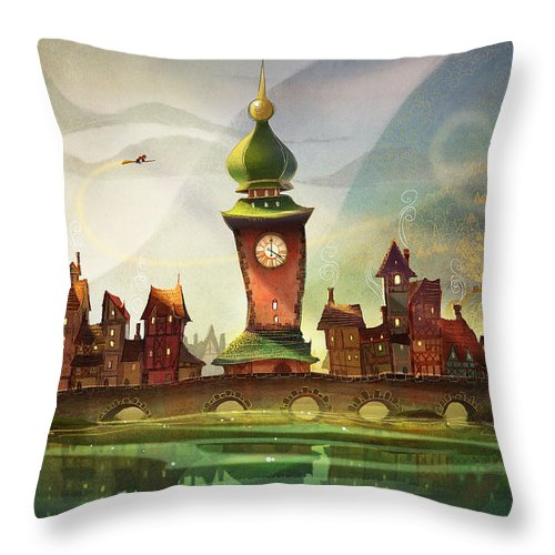 Clock Tower Throw Pillow featuring the painting The Clock Tower by Kristina Vardazaryan