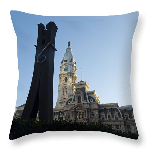 Clothes Throw Pillow featuring the photograph The Clothes Pin Statue And City Hall - Philadelphia by Bill Cannon