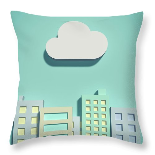 White Background Throw Pillow featuring the digital art The Cloud Network And Office Buildings by Yagi Studio