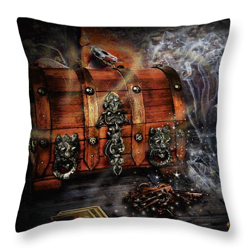 Coffer Throw Pillow featuring the digital art The Coffer Of Spells by Alessandro Della Pietra