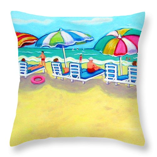 Colorful Beach Throw Pillow featuring the painting The Color Of Summer by Rebecca Korpita