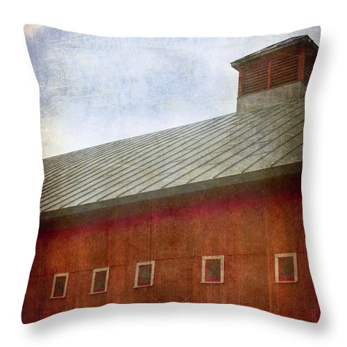 Side; Old; Farm; Barn; Roof; Rural; Outside; Outdoors; Sky; Aged; Clouds; Windows; Large; Red; Building; Architecture Throw Pillow featuring the photograph The Colorful Side by Margie Hurwich