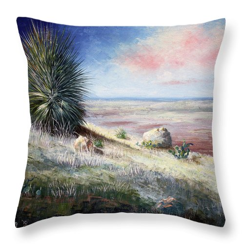 Roena King Throw Pillow featuring the painting The Colors Of Evening by Roena King