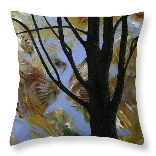 Tree Throw Pillow featuring the painting The Colors That Are Not Leaves by Julianne Hunter