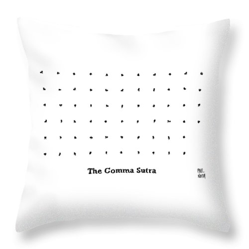 Captionless. Comma Throw Pillow featuring the drawing The Comma Sutra. Images Of Commas In Different by Paul Noth