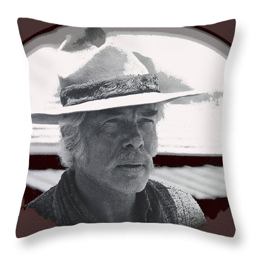The Commancheros Homage 1961 Lee Marvin Monte Walsh Old Tucson Arizona John Wayne Ceramic Coffee Mugs Vignetted Throw Pillow featuring the photograph The Commancheros Homage 1961 Lee Marvin Monte Walsh Old Tucson Arizona by David Lee Guss