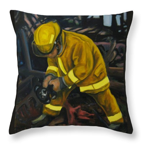 The Compulsion Towards Heroism Throw Pillow featuring the painting The Compulsion Towards Heroism by John Malone