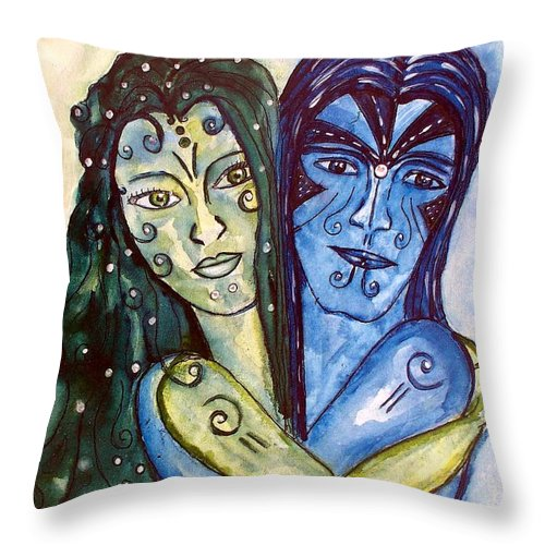 Male Throw Pillow featuring the painting The Connection by Robin Monroe