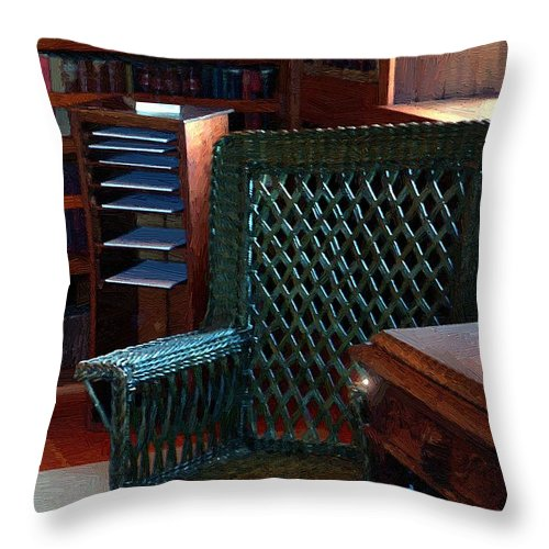 Antiques Throw Pillow featuring the painting The Consulting Room by RC DeWinter