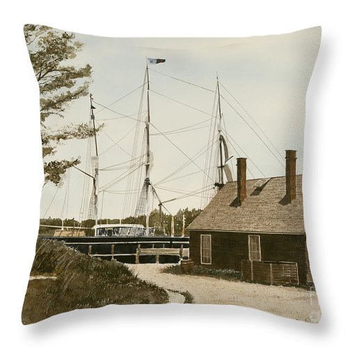 Mystic Seaport Is A Re-created Village Directed Toward Ships And Boats As Well As The Assorted Businesses And Services They Offered. Throw Pillow featuring the painting The Cooperage by Monte Toon