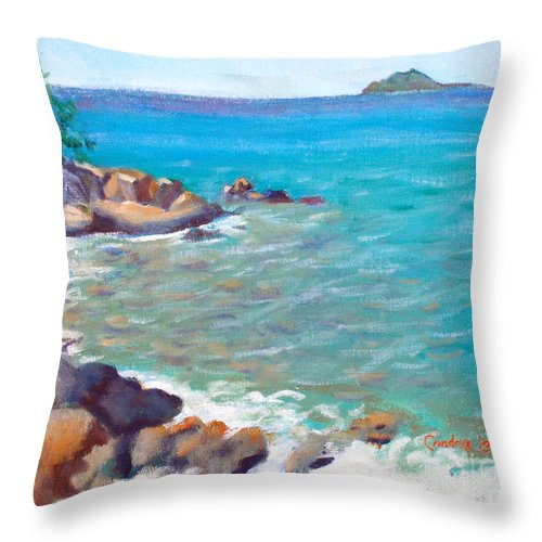 Honey Moon Beach Throw Pillow featuring the painting The Cottage View by Candace Lovely