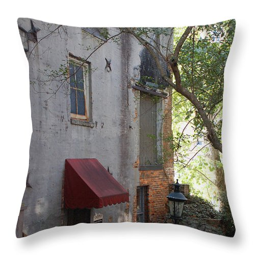 Cotton Exchange Throw Pillow featuring the photograph The Cotton Exchange In Wilmington Nc by Suzanne Gaff