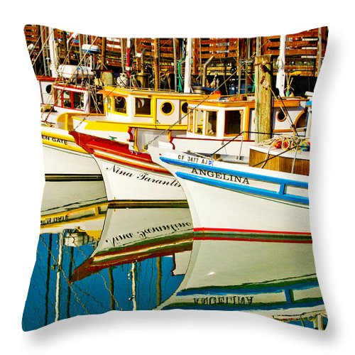 Crab Fleet Throw Pillow featuring the photograph The Crab Fleet by Bill Gallagher