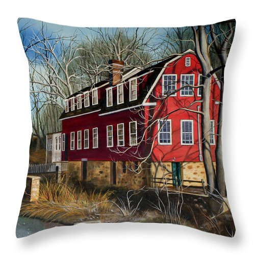 Mill Throw Pillow featuring the painting The Cranford Mill by Daniel Carvalho
