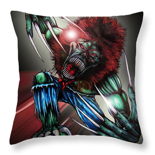 The Creeper Throw Pillow featuring the digital art The Creeper by Michael TMAD Finney and Ben Van Rooyen