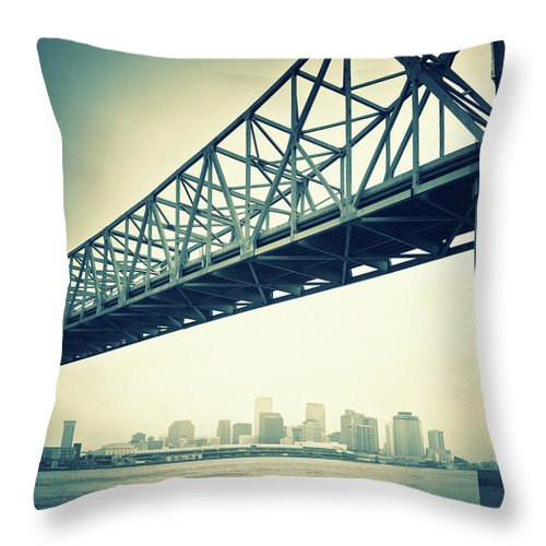 Desaturated Throw Pillow featuring the photograph The Crescent City Connection In New by Moreiso