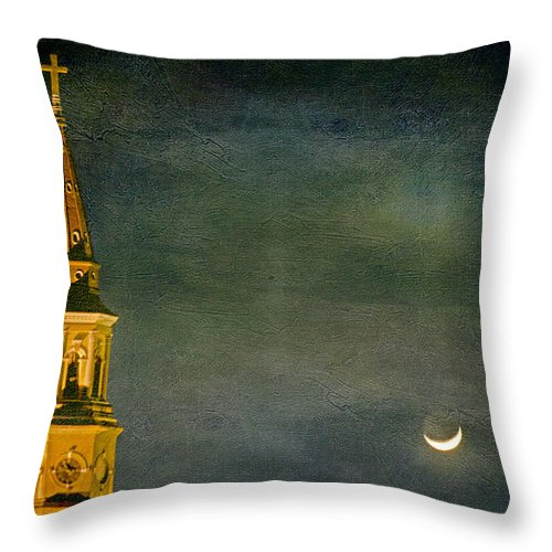 St. Philip's Throw Pillow featuring the photograph The Cross And The Crescent by E Karl Braun
