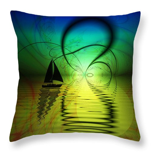 Boat Throw Pillow featuring the digital art The Crossing by Kiki Art