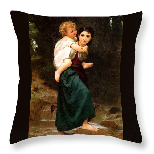 The Crossing Of The Ford Throw Pillow featuring the digital art The Crossing Of The Ford by William Bouguereau