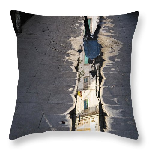 Street Photography Throw Pillow featuring the photograph The Crossing by Rene Triay Photography