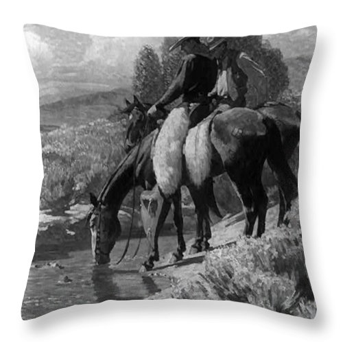 The Crossing Throw Pillow featuring the digital art The Crossing by W Herbert Dunton