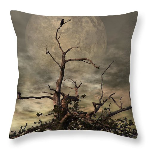 Crow Throw Pillow featuring the digital art The Crow Tree by Abbie Shores