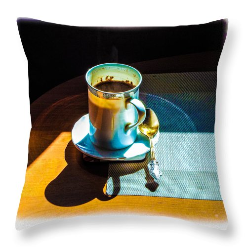 Cup Throw Pillow featuring the digital art The Cup Of Black Coffee 1 by Algirdas Lukas