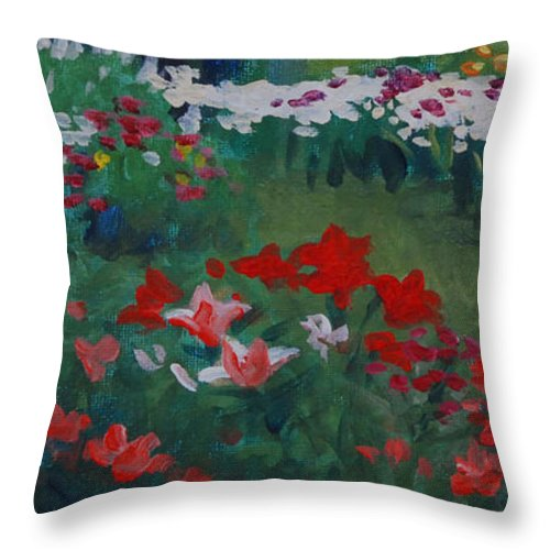 Floral Throw Pillow featuring the painting The Cutting Garden by Heidi E Nelson