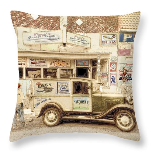 Retro Throw Pillow featuring the digital art The Daily Delivery by John Anderson