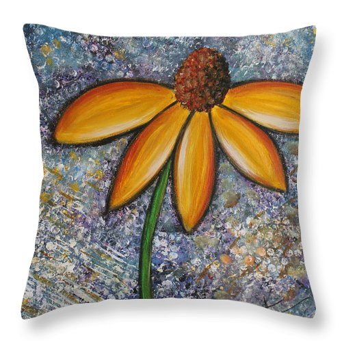Daisy Throw Pillow featuring the painting The Daisy by Molly Roberts