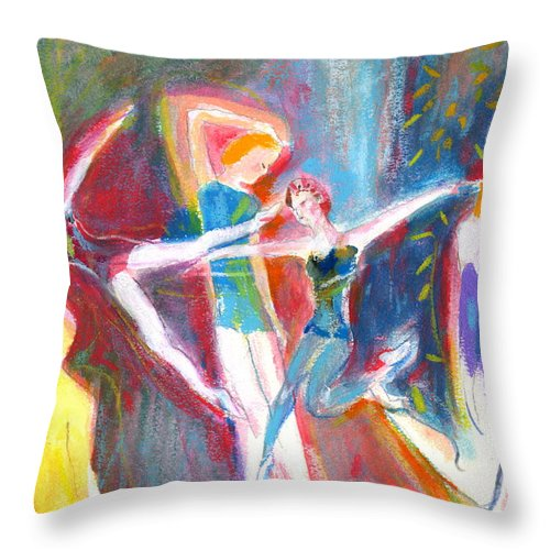 Dance Throw Pillow featuring the painting The Dancers by Mary Armstrong