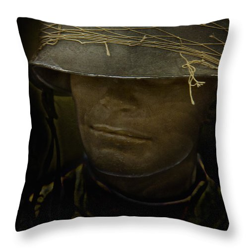 Caucasian Throw Pillow featuring the photograph The Darkness Of War by Margie Hurwich