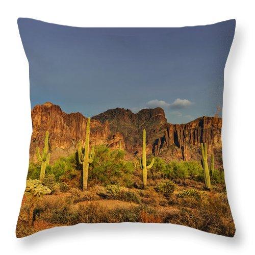 Superstition Mountains Throw Pillow featuring the photograph The Desert Aglow by Saija Lehtonen