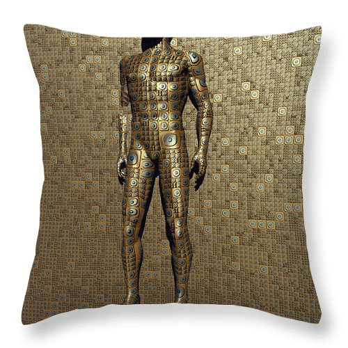 Vertical Throw Pillow featuring the digital art The Design And Construction Of Robots by Mark Stevenson
