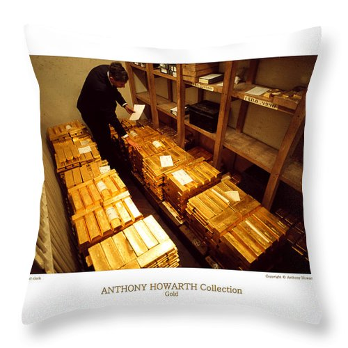 Anthony Throw Pillow featuring the photograph Anthony Howarth Collection - Gold- The Diligent Clerk by Anthony Howarth