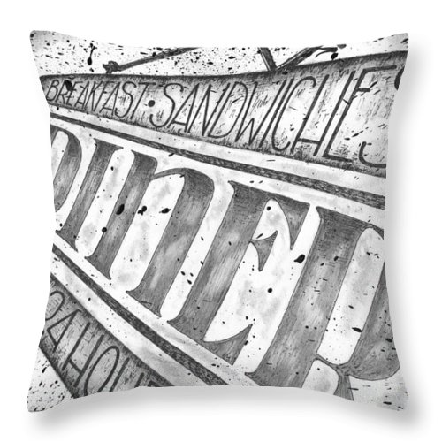 Art Throw Pillow featuring the drawing The Diner by Adam Zebediah Joseph