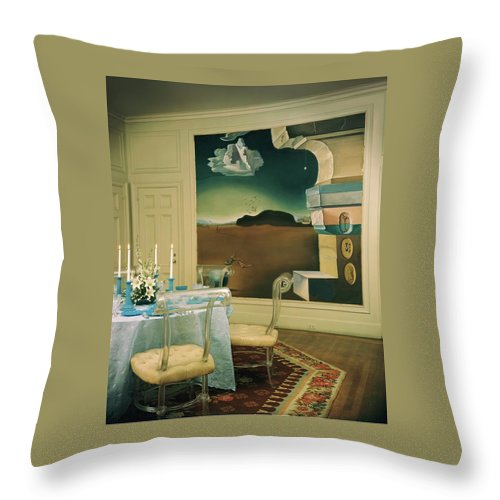 Salvador Dali Throw Pillow featuring the photograph The Dining Room Of Princess Gourielli by Haanel Cassidy