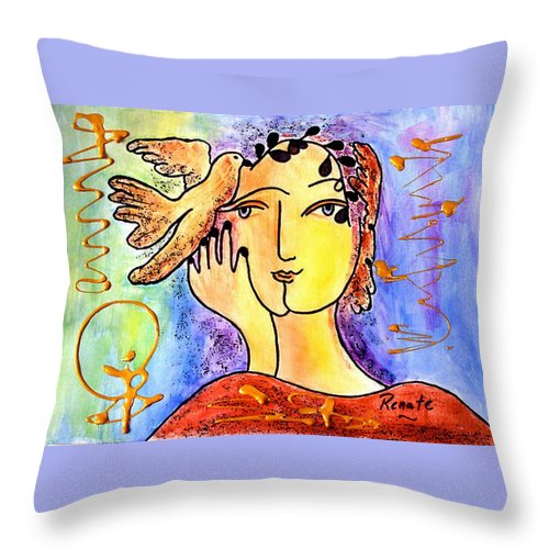 Mystical-woman-portrait Throw Pillow featuring the painting The Dove Whisperer by Renate Dartois