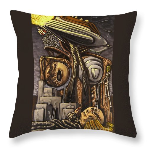 Surreal Throw Pillow featuring the painting The DOW Itcher by Mack Galixtar