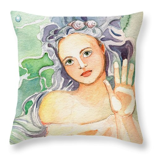 Mermaid Throw Pillow featuring the painting The Dry Side Of The Glass by Katherine Miller