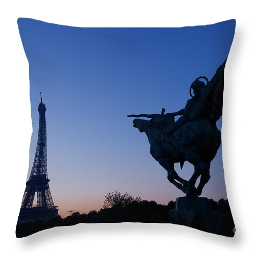 Architecture Throw Pillow featuring the photograph The Eiffel Tower And Joan Of Arc Statue At Sunrise by Oscar Gutierrez