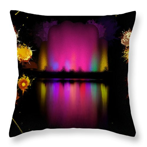 Colorful Throw Pillow featuring the painting The Electric Fountain by Bruce Nutting