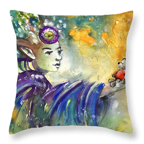 Travel Throw Pillow featuring the painting The Elf And The Little Bear by Miki De Goodaboom