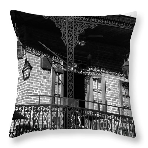 The Embers Bourbon House Throw Pillow featuring the photograph The Embers Bourbon House Restaurant In Black And White by Greg and Chrystal Mimbs
