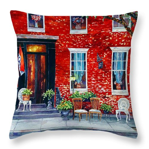 Watercolor Throw Pillow featuring the painting The Empty Chairs by Mick Williams