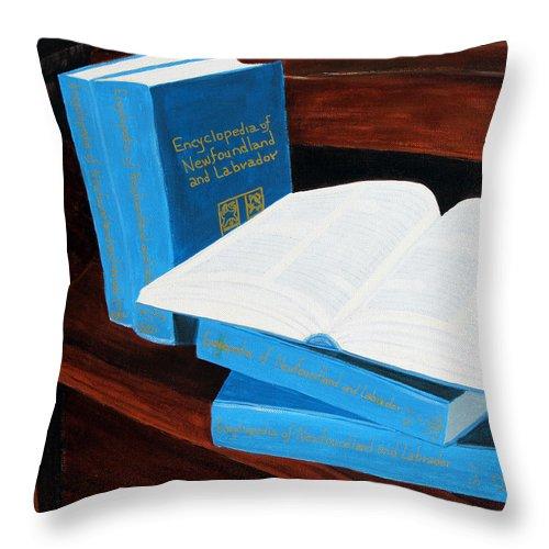 Barbara Griffin Throw Pillow featuring the painting The Encyclopedia Of Newfoundland And Labrador - Joeys Books by Barbara Griffin